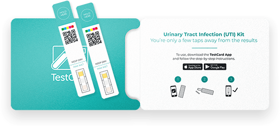 Urinary Tract Infection product pouch and test strips